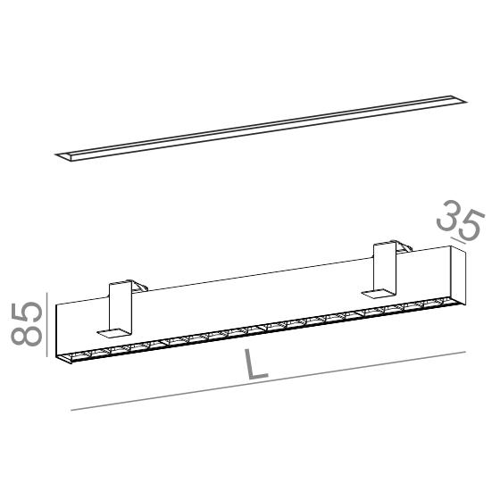 AQForm Rafter points 27 cm biały Oprawa do zabudowy LED