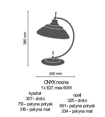 Amplex Onyx 307 Lampka stojąca złoty