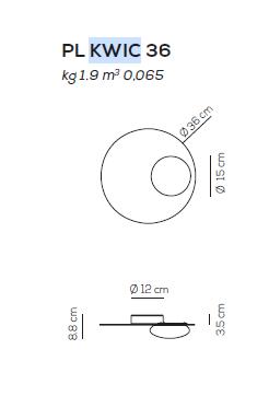 Axo Light Kwic 36 cm Plafon czarny