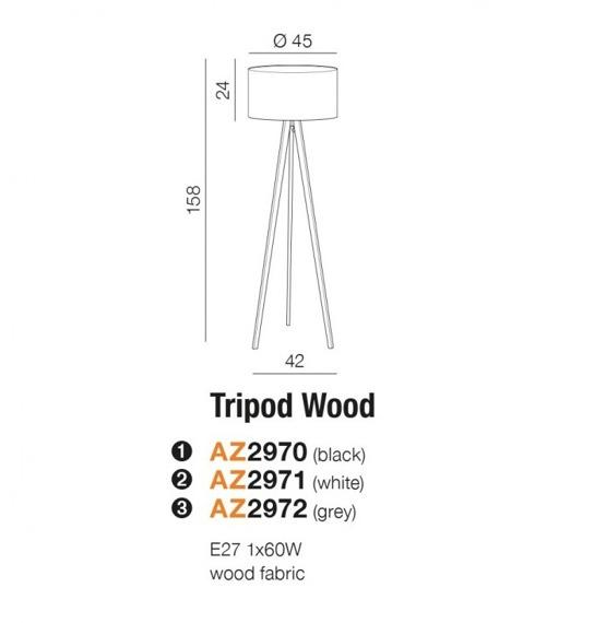 Azzardo Tripod Wood grey Lampa Stojąca