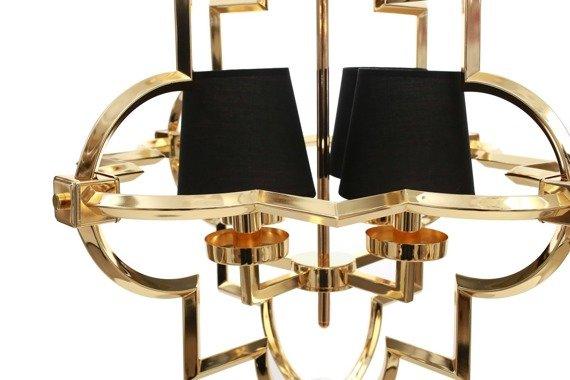Berella Light Torla 4 Żyrandol złoty/czarne abażury styl glamour BL0511