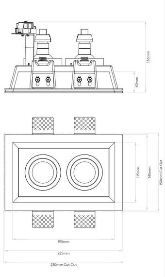 Blanco Twin Adjustable 7344 Oprawa pod zabudowę Astro