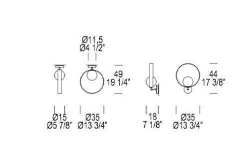 GIUKO P-PL1 Lampa Sufitowa/Lampa Ścienna heban Leucos