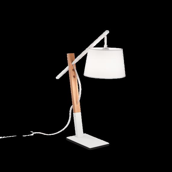 Ideal Lux Eminent TL1 Lampa nocna biała włoska z abażurem na wysięgniku