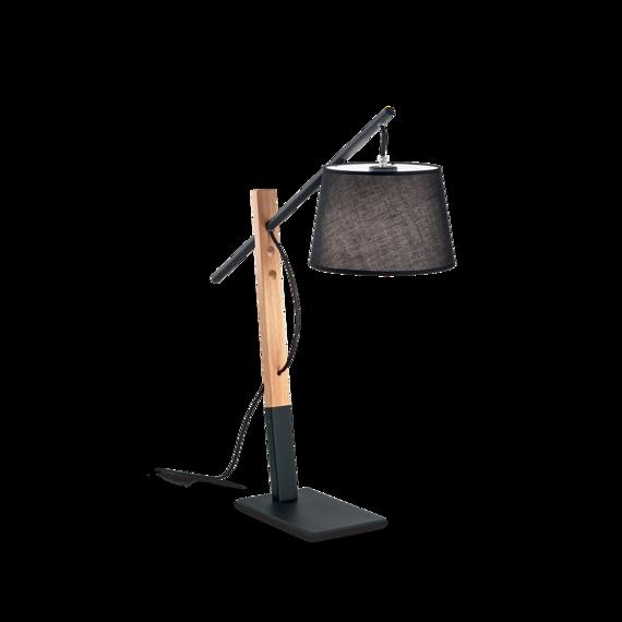 Ideal Lux Eminent TL1 Lampa nocna czarna włoska z abażurem na wysięgniku