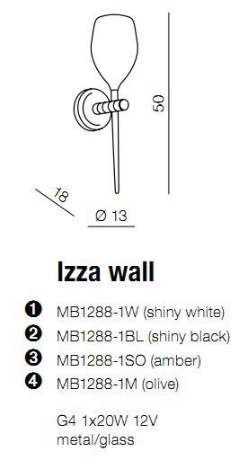 Izza MB 1288-1W Biały Kinkiet Azzardo