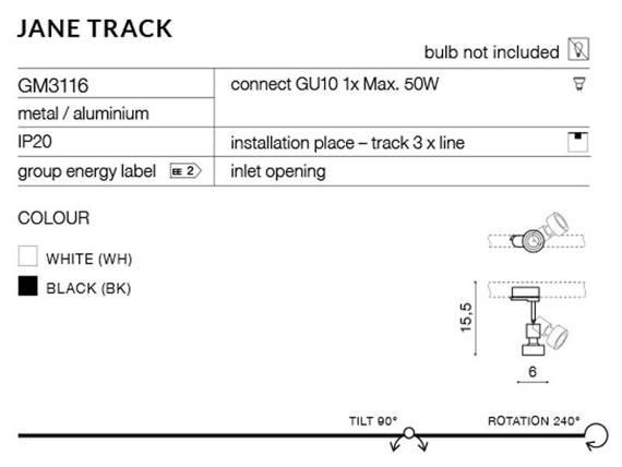 Jerry Track GM3116 WH Azzardo Reflektorek do szynoprzewodu