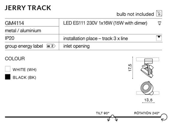 Jerry Track GM4114-BK Azzardo Reflektorek do szynoprzewodu AZ2458