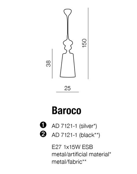 Lampa AZZARDO BAROCO AD 7121-1 Silver
