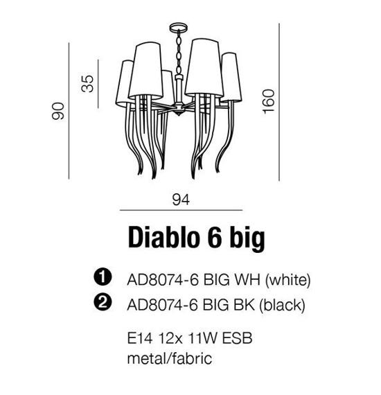 Lampa AZZARDO Diablo 6 AD8074-6 BIG Czarna