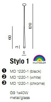 Lampa AZZARDO Stylo 1 MD 1220-1 Czarna
