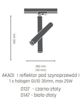 Lampa do szynoprzewodu Amplex Akadi I 0140 biało-złoty
