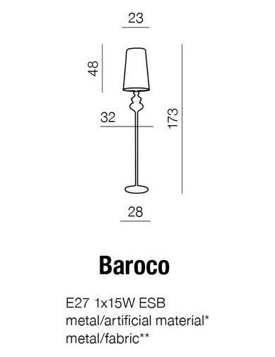Lampa podłogowa AZZARDO Baroco AL 7121-1 Black