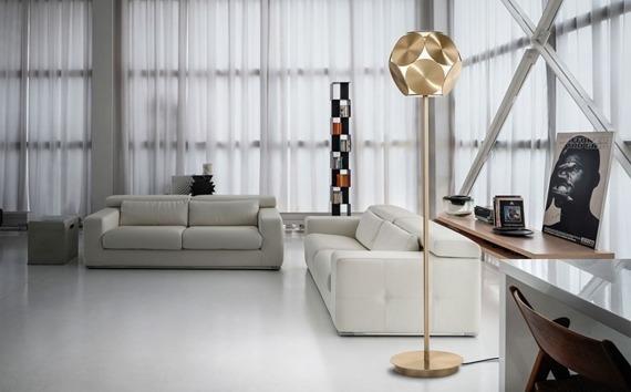 Masiero Timeo STL złoto/biała Lampa podłogowa