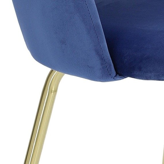 Niebieskie krzesło w stylu glamour Kotte Velvet obite welurową tkaniną