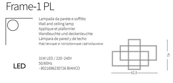 Nowoczesna lampa sufitowa LED geometryczna Ideal Lux Frame-1 PL