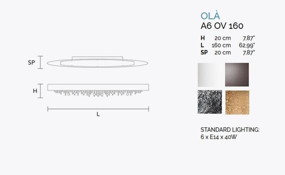 Ola A6 OV 160 Kinkiet MASIERO srebrny