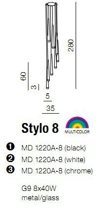 Plafon AZZARDO Stylo 8 MD 1220A-8 Czarna