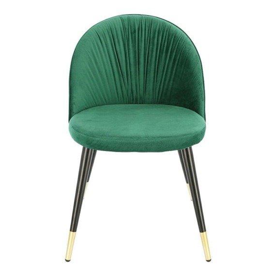 Zielone krzesło w stylu glamour Kotte obite welurową tkaniną